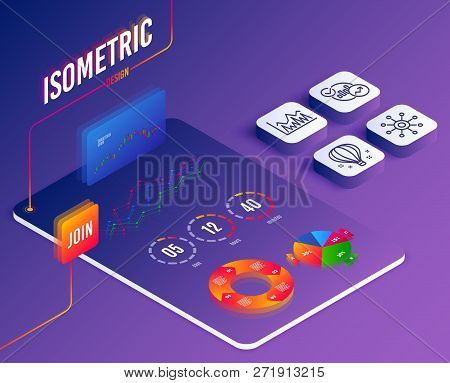 Isometric Vector. Set Of Multichannel, Investment And Statistics Icons. Air Balloon Sign. Multitaski