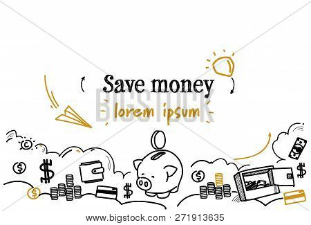 Piggy Bank Icon Save Money Concept Sketch Doodle Horizontal Isolated Copy Space