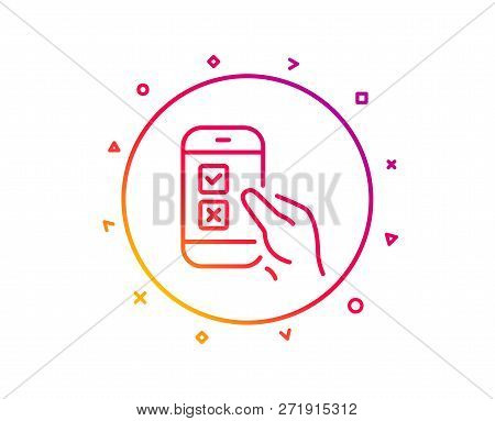 Mobile Survey Line Icon. Select Answer Sign. Business Interview Symbol. Gradient Pattern Line Button