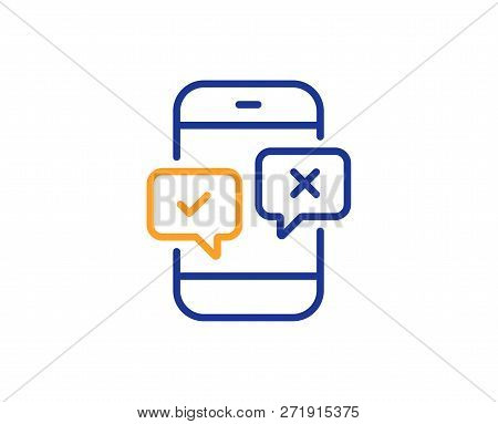 Phone Survey Line Icon. Select Answer Sign. Business Interview Symbol. Colorful Outline Concept. Blu