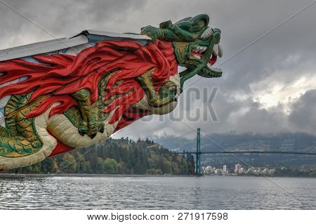 Vancouver, Canada - October 1, 2018: Closeup Of Monument Displaying The Figurehead Of Ss Empress Of