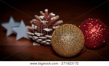 Beautiful Christmas Decoration On A Wooden Table