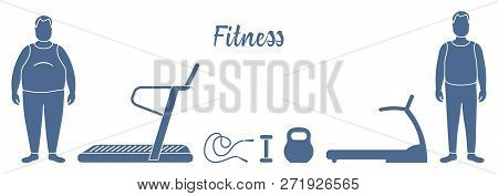 Time To Fitness And Sports. Healthy Lifestyle. Men Involved In Sports. Slimming. Sports Equipment: T
