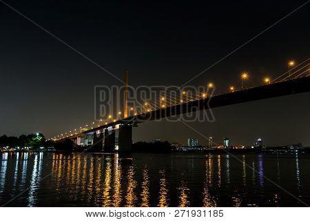 Landscape Night Of Choa Praya River In Night Time.