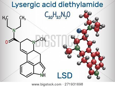 Lysergic Acid Diethylamide (lsd). It Is A Hallucinogenic Drug. Structural Chemical Formula And Molec