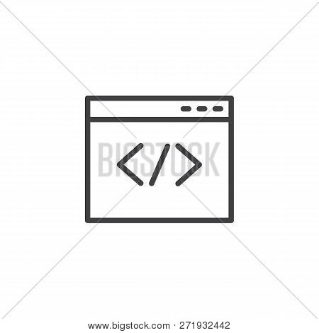 Web Browser Coding Outline Icon. Linear Style Sign For Mobile Concept And Web Design. Coding Website
