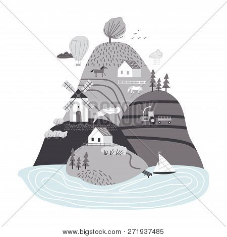 Scandinavian Landscape. Hand Drawn Vector Abstract Scandinavian Graphic Illustration With Houses, Tr