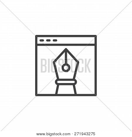 Browser Window And Vector Design Drawing Tool Outline Icon. Linear Style Sign For Mobile Concept And