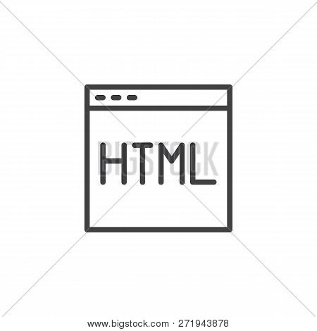 Webpage Html Code Outline Icon. Linear Style Sign For Mobile Concept And Web Design. Programming And
