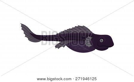 Flat vector icon of purple predatory fish, side view. Sea creature. Marine animal. Underwater life poster