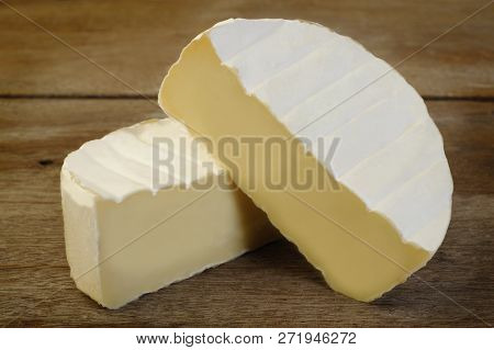 Camembert Cheese Food At On Wooden Background