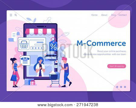 M Commerce Landing Page With People Shopping On Smartphone. Online Mobile Shopping Web Banner With M