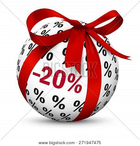 Discount -20% - Sphere With Red 3d Bow And Minus 20 (twenty) Percent Texture. Advertising Sign For M