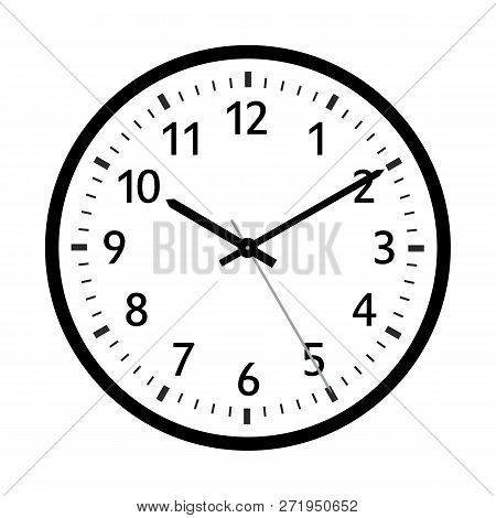 Simple 2d Vector Retro Clock Icon With Classical 10 Past 10 Adjustment. With Black Clock Face And Bl