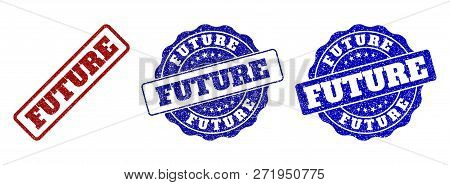 Future Scratched Stamp Seals In Red And Blue Colors. Vector Future Labels With Grunge Effect. Graphi
