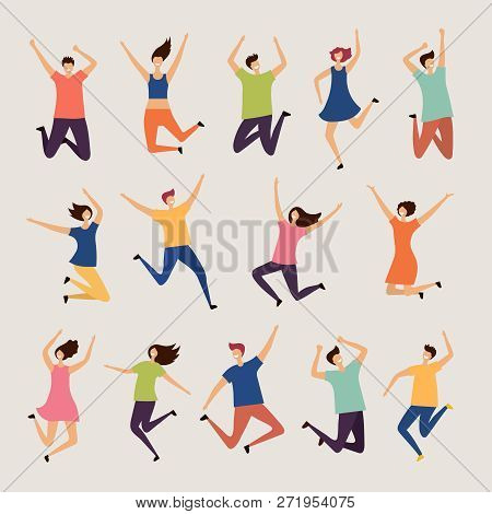 Jumping People. Young And Adult Laughing Happy Group Characters Vector Flat Illustrations. Happy Cha