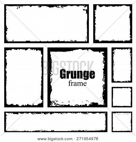 Set Of Grunge Square Frames. Empty Border Background. Hand Draws Black And White Ink. Distress Damag