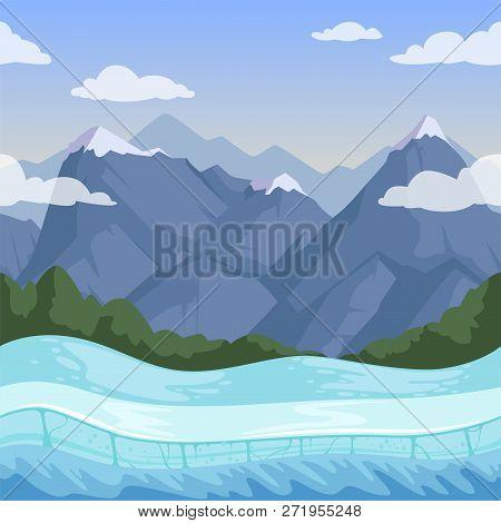 Winter Mountain Background. Outdoor Rocky Hills Terrain Snow Relief Vector Seamless Pattern. Terrain