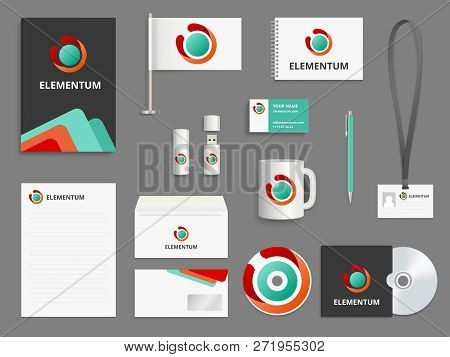 Business Identity. Branding Realistic Vector Mockup Folder Envelope Cover For Cd Blank Business Card
