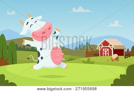Cow At Farm. Field Ranch Milk Animals Eating And Playing On The Grass Alpes Landscape Vector Cartoon