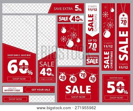 Web Banners Standard Sizes. Advertizing Business Banners Horizontal Vertical Square Shapes Vector Te
