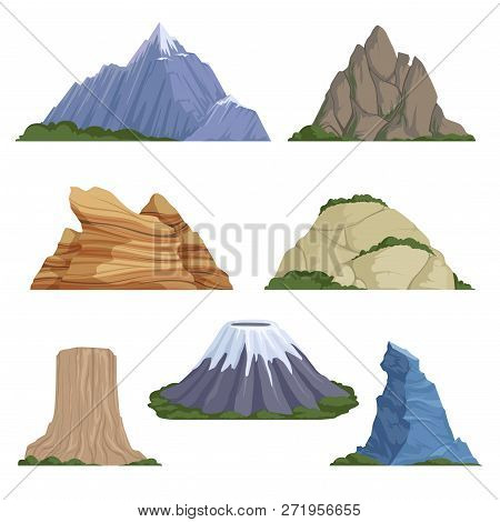 Cartoon Mountains. Snow Rockies Summer Terrain Outdoor Rock Landscape Vector Background Isolated. Il