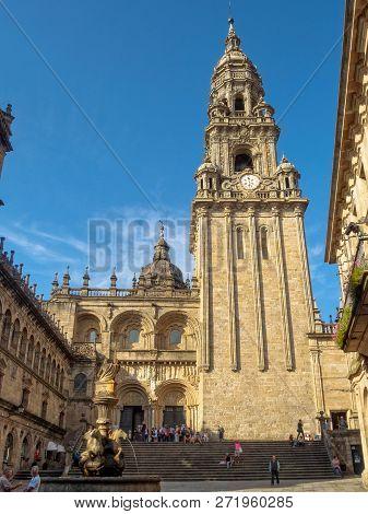 The Plerias Square And The Clocktower Of The Cathedral - Santiago De Compostela, Galicia, Spain, 3 O