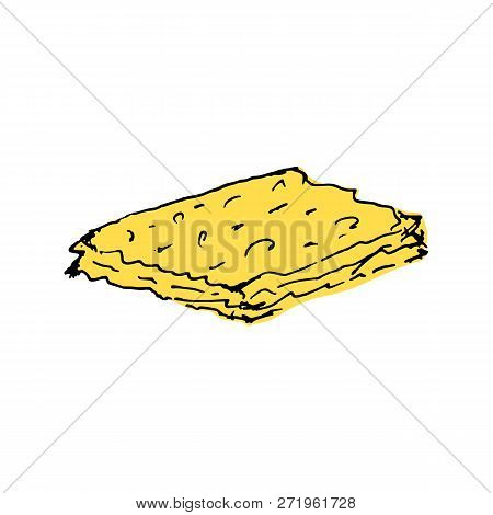 Matza For The Jewish Holiday Of Passover. Hand Draw. Vector Illustration On Isolated Background