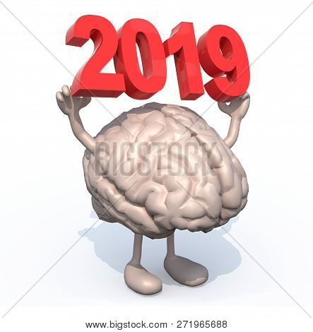 Brain With Arms, Legs And The 3d Inscription 2019, 3d Illustration