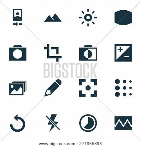 Photo Icons Set With Edit, Photographing, Monochrome And Other Center Focus Elements. Isolated Vecto