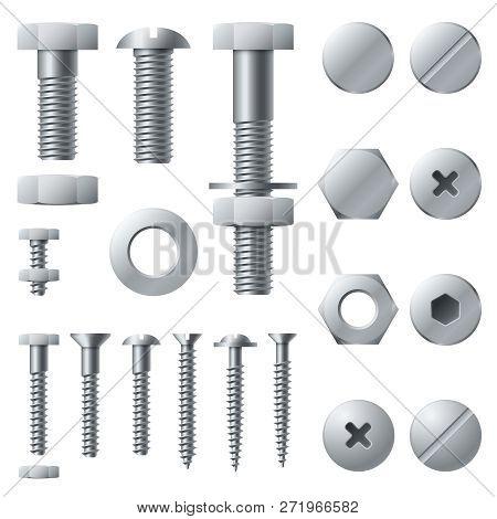 Metal Screws. Bolt Screw Nut Rivet Head Steel Construction Elements. Grey Realistic Bolts Isolated V