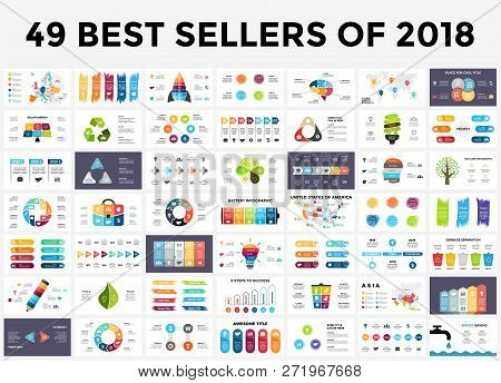 Best Infographic Templates Of 2018. Presentation Slides Set. Circle Diagrams, Timelines, Light Bulb,