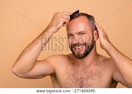 Portrait Of Nice Lovely Cheerful Cheery Positive Bearded Attractive Handsome Guy Combing Grey Hair H