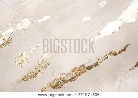 Christmas Elegant Background. Blurred Abstract Art Gold Foil Backdrop. Luxury Glamorous Shiny Festiv