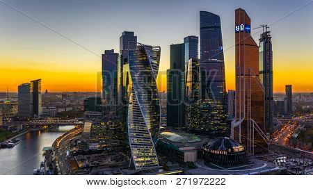 Aerial View Sunset Over Moscow City District And Moscow River, Moscow Russia.