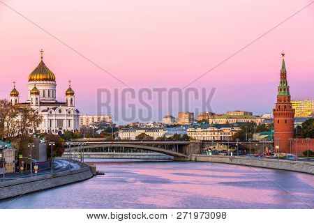 Cathedral Of Christ The Savior And Moscow River At Twilight In Moscow, Russia, Architecture And Land