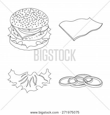 Vector Illustration Of Burger And Sandwich Symbol. Collection Of Burger And Slice Vector Icon For St