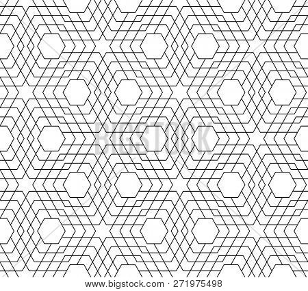 Abstract seamless black and white geometric pattern -  illustration