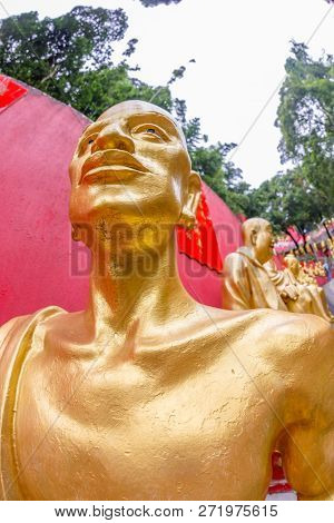 Hong Kong, China - December 3, 2016: Ecstasy Of One Of The Statues Of Ten Thousand Buddhas Monastery