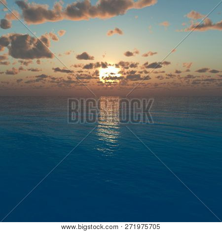 Beautiful sea and sky at sunset - 3D rendering
