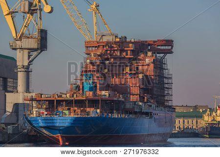 Shipyard Have Crane Machine, Shipyard Industry At Twilight.