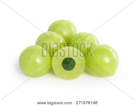 Fresh Indian Gooseberry Isolated On White Background, Herb And Medical Fruit For Health Care Concept