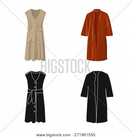Vector Illustration Of Woman And Clothing Symbol. Set Of Woman And Wear Stock Vector Illustration.