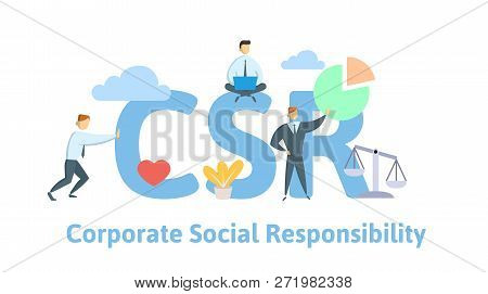 Csr, Corporate Social Responsibility. Concept With Keywords, Letters And Icons. Flat Vector Illustra
