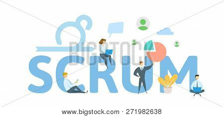 Scrum Framework. Concept With Keywords, Letters And Icons. Flat Vector Illustration On White Backgro