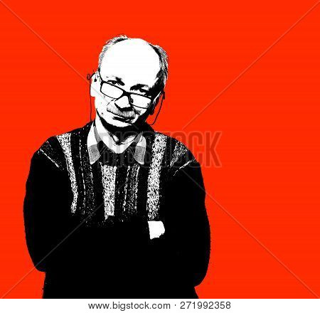 High Contrast Image Of An Elderly Man. Black White Image With Red Background. Contemporary Art And P