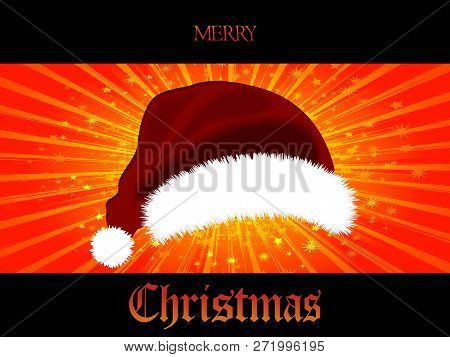 3d Illustration Of Red Santa Hat Over Red And Yellow Star Burst Panel On Black Background With Decor