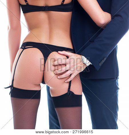 Rich Boss Grab Sexy Woman Ass, Seduction, Isolated On White, Closeup