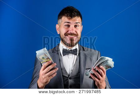 Businessman Got Cash Money. Richness And Wellbeing Concept. Get Cash Easy And Quickly. Cash Transact