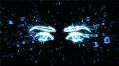 Glowing eyes in explosion of binary data 3D image illustrating spyware, privacy and hacking poster